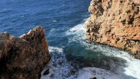 Popular natural object called L olla, Calvia, Mallorca island. Circle small bay known Calo d en Live Action