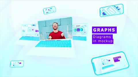 4K Statistical Graphs Diagrams In Mockup After Effects Template