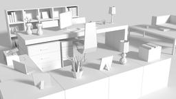 Low Poly Managers Room 3D Model