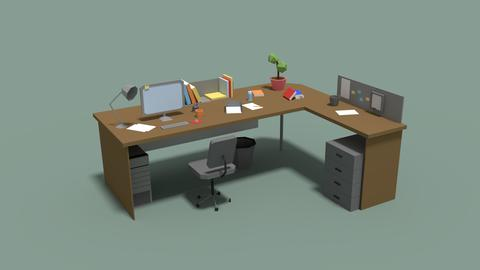 Low Poly Cartoony Office Desk 3D Model