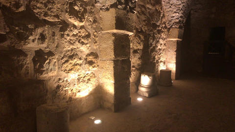 Ajloun, Jordan - stone rooms with illumination in the old castle part 11 Live Action