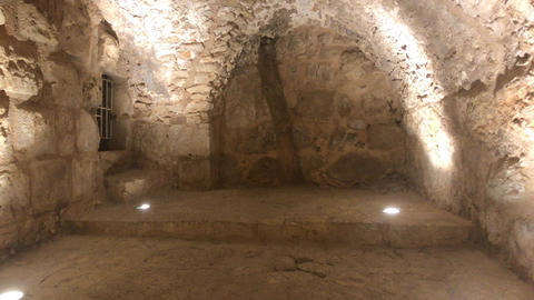 Ajloun, Jordan - stone rooms with illumination in the old castle part 14 Live Action