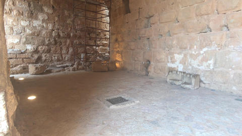 Ajloun, Jordan - stone rooms with illumination in the old castle part 18 Live Action
