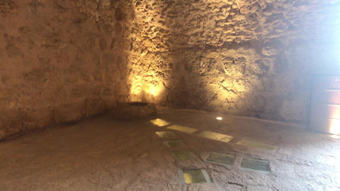 Ajloun, Jordan - stone rooms with illumination in the old castle part 15 Live Action