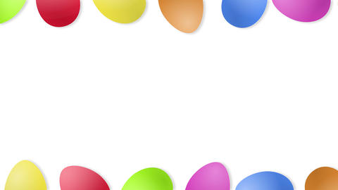 Beautiful Easter background with rolling eggs and copy space, loop Animation