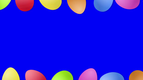 Beautiful Easter background with rolling eggs and copy space, loop. Blue screen, you can choose Animation
