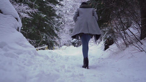 Close look of fairy winter forest. Girl walking alone through deep snowy forest Live Action