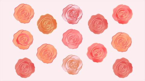 Wonderful roses video background. Moving pattern. Web banner. Rotating roses Animation