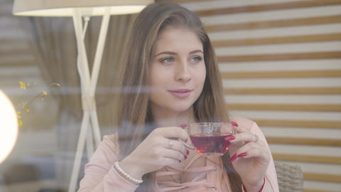 Thoughtful elegant Caucasian girl drinking tea and looking out the window in Live Action