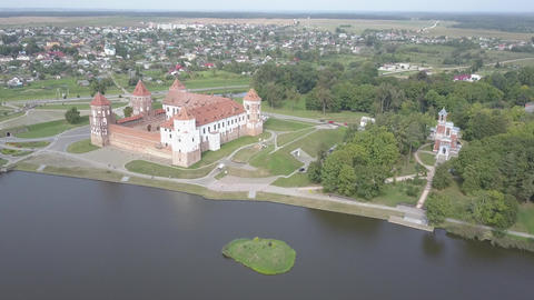 Top view of Mir Castle is one of the most famous historical cultural sites in Live Action