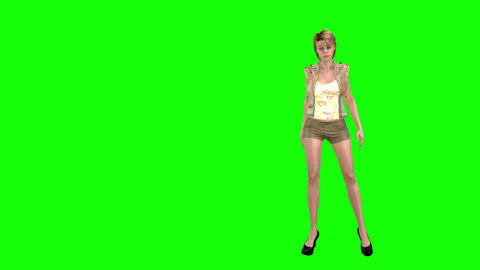490 4k 3d animated girl applauds on stage Animation