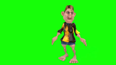 491 4k 3d animated cartoon small ugly man explains something Animation