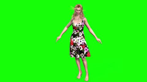492 4k 3d animated girl in flowery dress talking walking Animation