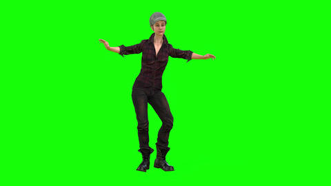494 4k 3d animated girl in costume and cap dancing Animation