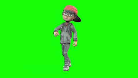495 4k 3d animated small cartoon boy with rucksack Animation