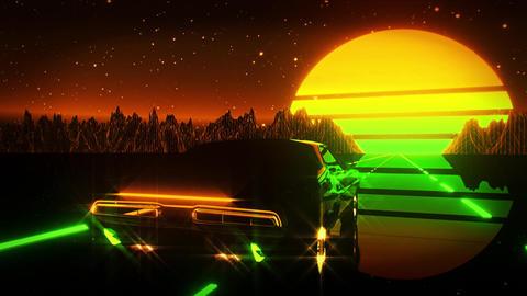 3D Retro Synthwave Night Landscape VJ Loop Motion Background Animation