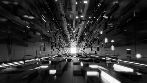 Sci-fi abstract cubic corridor black and white minimalist black 5K Videos animados