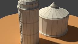 Low Poly Farm Silos 3D Model