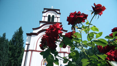 Orthodox Monastery from the Middle Ages and flowers in front Live Action