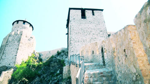 Medieval castle and two guard towers GIF