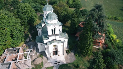 Aerial over the old and preserved Orthodox monastery Live Action