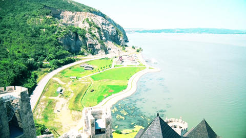 Beautiful views of the landscape and the Danube River Live Action