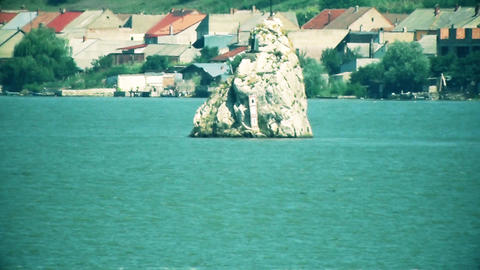 Rock in the middle of the river Danube GIF