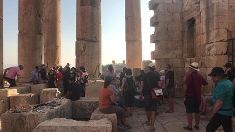 Jerash, Jordan - October 15, 2019: tourists walk through the ruins of the old ライブ動画