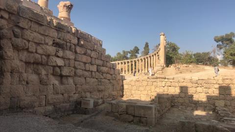 Jerash, Jordan - October 15, 2019: tourists walk on stone roads part 5 Live Action