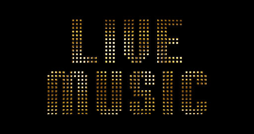 vintage yellow gold metallic live music word text reveal with light reflex on black background, Live Action