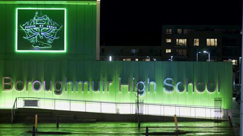 Boroughmuir High School in Edinburgh - EDINBURGH, SCOTLAND - JANUARY 10, 2020 Live Action
