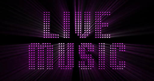 vintage blue metallic live music word text with light reflex and blue rays effect on black Live Action