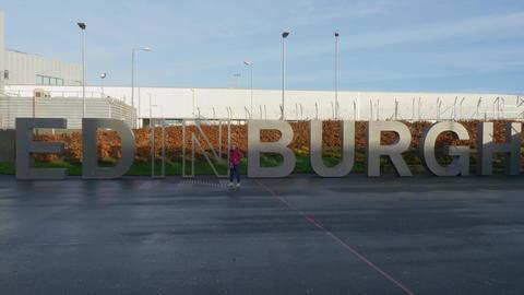 Big Edinburgh letters at the airport - EDINBURGH, SCOTLAND - JANUARY 10, 2020 Live Action