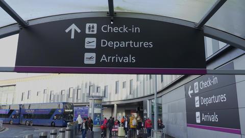 Direction signs at Edinburgh Airport - EDINBURGH, SCOTLAND - JANUARY 10, 2020 Live Action