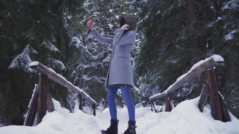 Gorgeous girl taking selfie photos in deep forest in winter day ライブ動画