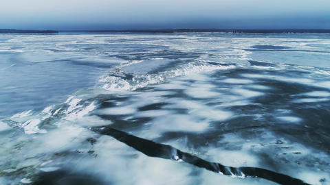 Spring Ice Drift on the River on a Cloudy Day - Drone Collection Live Action