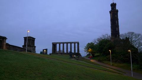National Monument on Calton Hill in Edinburgh - EDINBURGH, SCOTLAND - JANUARY 10 Live Action