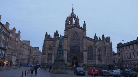 St Giles Cathedral in Edinburgh - EDINBURGH, SCOTLAND - JANUARY 10, 2020 Live Action