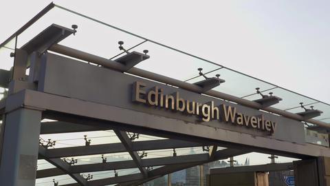 Edinburgh Waverly railway station - EDINBURGH, SCOTLAND - JANUARY 10, 2020 Live Action
