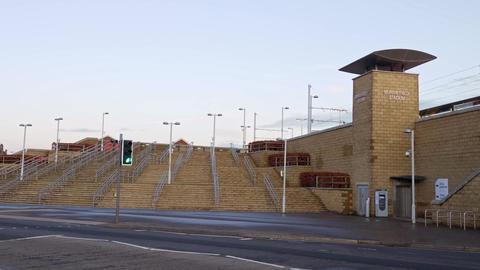 Murrayfield tram station in Edinburgh - EDINBURGH, SCOTLAND - JANUARY 10, 2020 Live Action