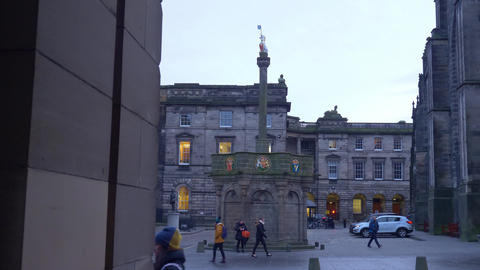 Mercat Cross in Edinburgh Old Town - EDINBURGH, SCOTLAND - JANUARY 10, 2020 Live Action