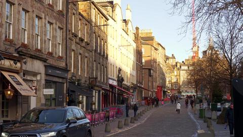 Grassmarket - Edinburgh cityscapes - EDINBURGH, SCOTLAND - JANUARY 10, 2020 Live Action