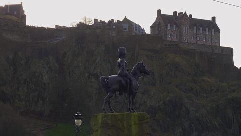 Edinburgh Castle in the historic district - EDINBURGH, SCOTLAND - JANUARY 10 Live Action