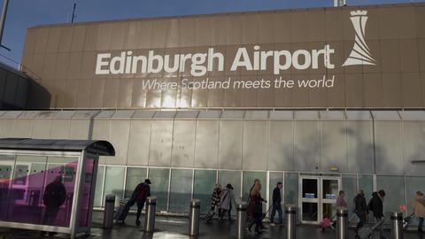 Main terminal of Edinburgh Airport - EDINBURGH, SCOTLAND - JANUARY 10, 2020 Live Action
