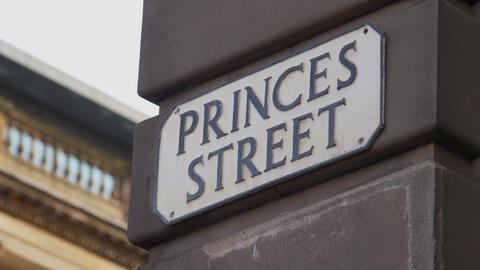 Princes Street in Edinburgh - street sign - EDINBURGH, SCOTLAND - JANUARY 10 Live Action