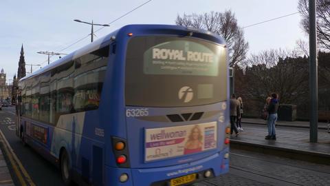 Street view Princes Street in Edinburgh - EDINBURGH, SCOTLAND - JANUARY 10, 2020 Live Action