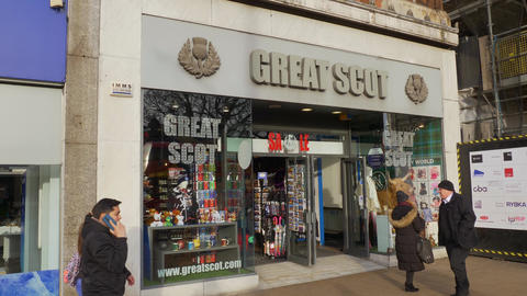 Great Scot souvenir shop in Edinburgh - EDINBURGH, SCOTLAND - JANUARY 10, 2020 Live Action