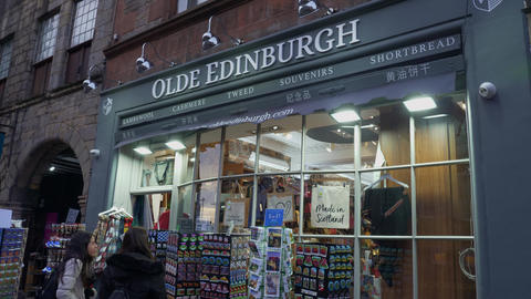 Heritage of Scotland Souvenir shop in Edinburgh - EDINBURGH, SCOTLAND - JANUARY Live Action
