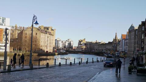 Beautiful district of Leith in Edinburgh - EDINBURGH, SCOTLAND - JANUARY 10 Live Action