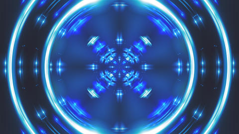 Computer generated fractal blue kaleidoscopic backdrop of twinkling blue lights Live Action